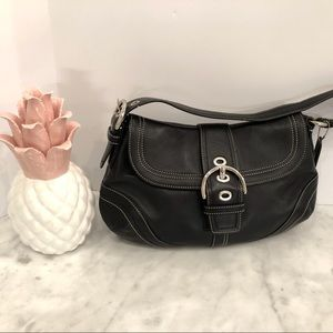 Coach black leather hobo w/white stitching nice 😎